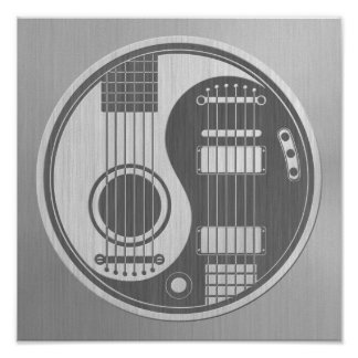 Acoustic Electric Guitars Yin Yang Stainless Steel Poster