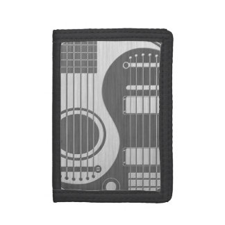Acoustic Electric Guitars Yin Yang Stainless Steel Tri-fold Wallets
