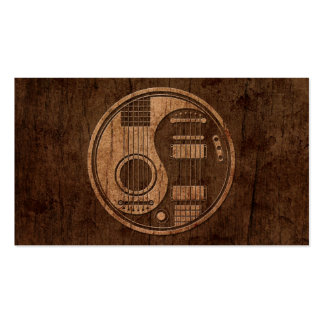 Acoustic Electric Guitars Yin Yang Wood Effect Business Card
