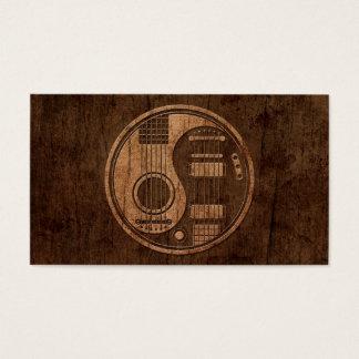 Acoustic Electric Guitars Yin Yang Wood Effect Business Card