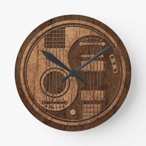Acoustic Electric Guitars Yin Yang Wood Effect Clock