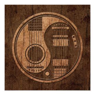 "Acoustic Electric Guitars Yin Yang Wood Effect 5.25"" Square Invitation Card"