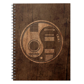 Acoustic Electric Guitars Yin Yang Wood Effect Spiral Notebook