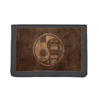 Acoustic Electric Guitars Yin Yang Wood Effect Tri-fold Wallets