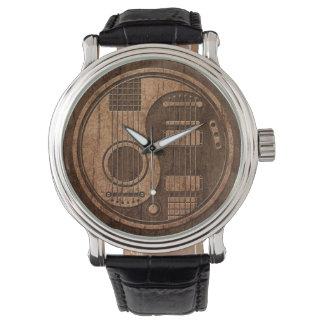 Acoustic Electric Guitars Yin Yang Wood Effect Wrist Watch