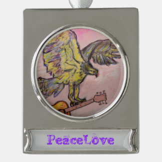 Acoustic Fish Hawk (PeaceLove) Silver Plated Banner Ornament