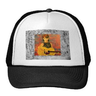 acoustic folk girl silver drip trucker hat