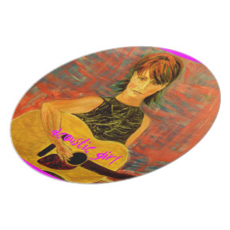 acoustic girl art dinner plate