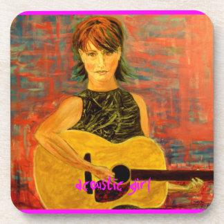 acoustic girl art drink coaster