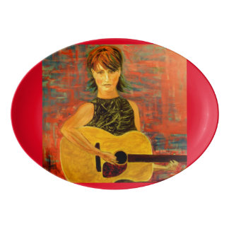 acoustic girl art porcelain serving platter