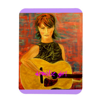 acoustic girl art rectangular photo magnet