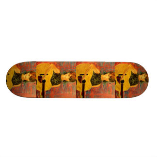 acoustic girl art skateboard deck