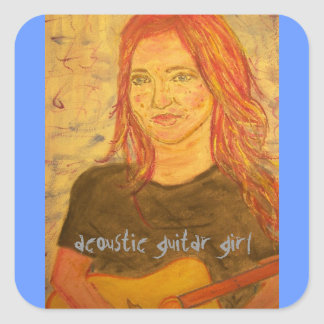 acoustic girl art square sticker