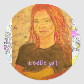 acoustic girl drip painting classic round sticker