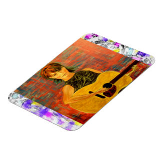 acoustic girl drip painting magnet