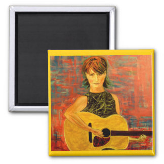 acoustic girl folky 2 inch square magnet