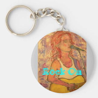 Acoustic Girl rock on Basic Round Button Keychain