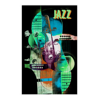 Acoustic guitar abstract collage - Jazz Print