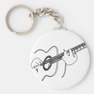 acoustic guitar basic round button keychain