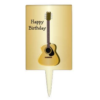 Acoustic Guitar Birthday Cake Picks