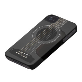 Acoustic Guitar Black iPhone 4 Case-Mate Cases