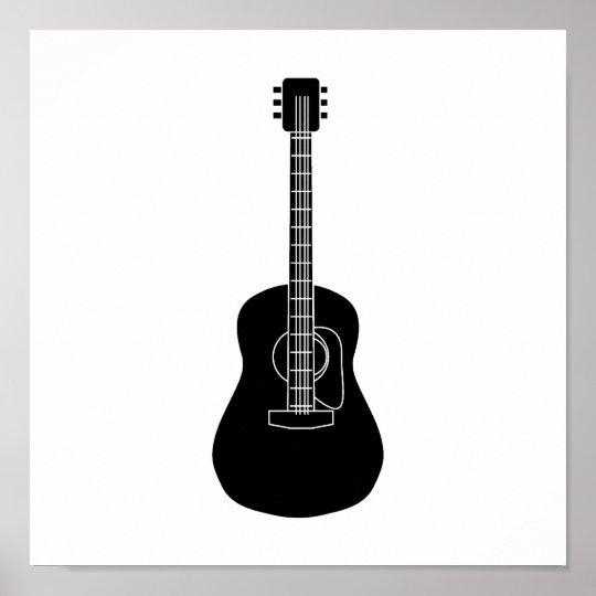 Acoustic Guitar Black Poster