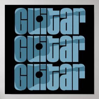 Acoustic Guitar Blue Posters