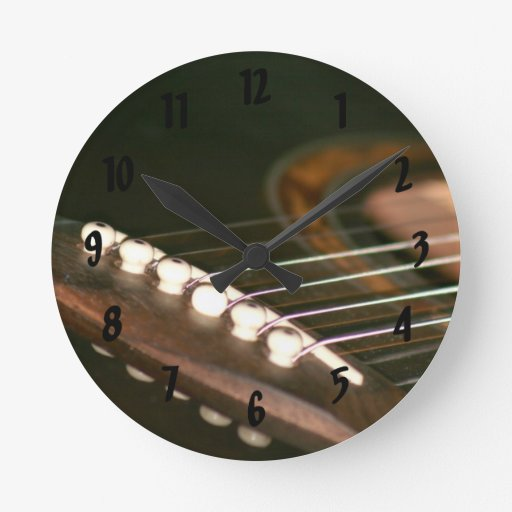 acoustic guitar bridge pins close up.jpg round wallclock