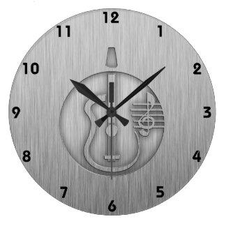 Acoustic Guitar; Brushed metal-look Wall Clocks