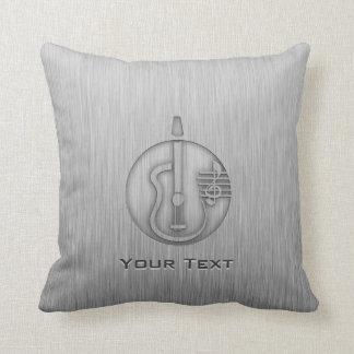 Acoustic Guitar; Brushed metal-look Throw Pillow