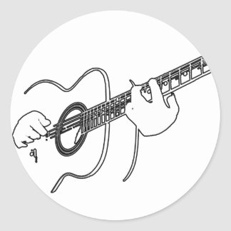 acoustic guitar classic round sticker