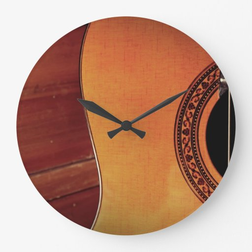 Acoustic Guitar Round Wall Clocks