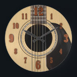 """Acoustic Guitar Clock w/ Numbers<br><div class=""""desc"""">A classic six string guitar wall clock with numbers.</div>"""