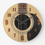 Acoustic Guitar Clock w/ Numbers<br><div class='desc'>A classic six string guitar wall clock with numbers.</div>