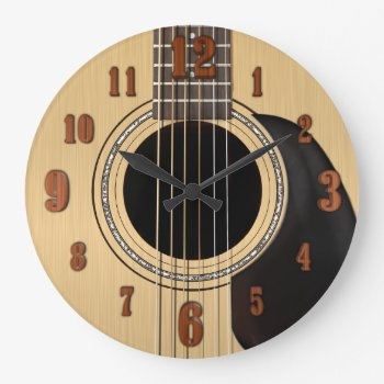 Acoustic Guitar Clock W/ Numbers by JerryLambert at Zazzle