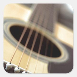 Acoustic guitar closeup photo square sticker