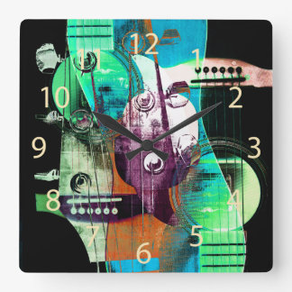 Acoustic guitar collage - jazz square wall clock