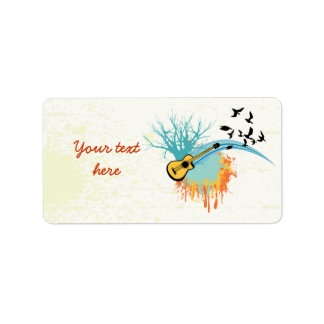 Acoustic guitar custom products personalized address label