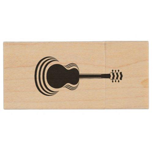 Acoustic Guitar Cutout Wood Flash Drive