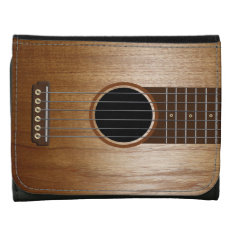 Acoustic Guitar Design Leather Tri-fold Wallet at Zazzle