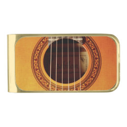 Acoustic Guitar Detail Gold Finish Money Clip