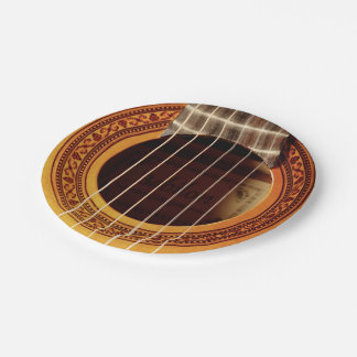 Acoustic Guitar Detail 7 Inch Paper Plate