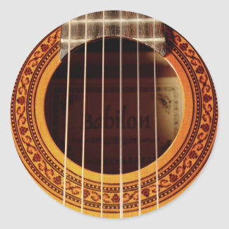 Acoustic Guitar Detail Classic Round Sticker