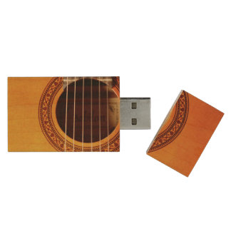 Acoustic Guitar Detail Wood USB Flash Drive