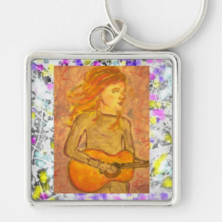 acoustic guitar drawing drip key chains