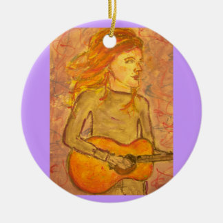acoustic guitar drawing Double-Sided ceramic round christmas ornament