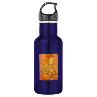 acoustic guitar drawing 18oz water bottle