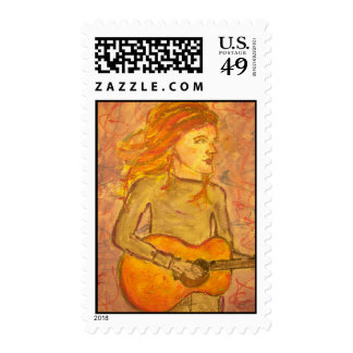acoustic guitar drawing postage