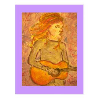 acoustic guitar drawing postcard