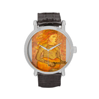acoustic guitar drawing wristwatches